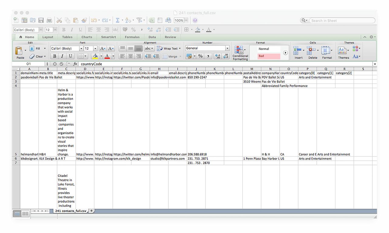In the CSV format, the database looks like this.
